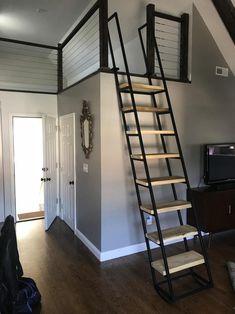 9 ft Loft ladder, Librarian (shipping is ABF trucking loading dock to AFB loading dock ) Loft Railing, Loft Stairs, Mezzanine Loft, Lofts Pequenos, Small Loft Spaces, Small Space Stairs, Small Loft Bedroom, Space Saving Staircase, Small Staircase