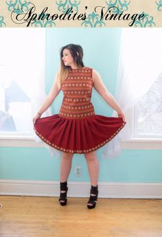 5de106d1271 Vintage 1960s Toni Todd Red Drop Waist Dress Skater Mod Sleeveless Hippie  Boho Mini Full Skirt Novelty Print Medium M Large L Size 8 10 12