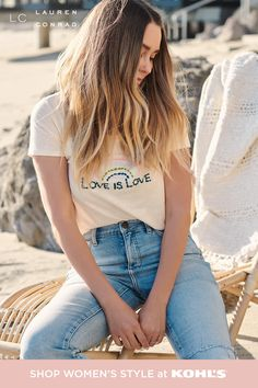 """Celebrate Pride Month in style with this adorable look from LC Lauren Conrad. This graphic """"Love is Love"""" tee is equal parts cute and comfy—plus, it's made from organic cotton! Pair it with some high-waisted jeans for an easy, breezy look that's perfect for June and beyond. Shop graphic tees, jeans and more summer styles from LC Lauren Conrad at Kohl's and Kohls.com. #pride #lclaurenconrad Lc Lauren Conrad, Comfortable Fashion, Summer Girls, Trendy Fashion, Fashion Ideas, Fashion Trends, Graphic Tees, Cute Outfits, Style Inspiration"""