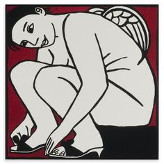 Anita Klein - Angel Trying In Sandals, Limited Edition Woodcut, 49x48cm, Unframed | ACHICA