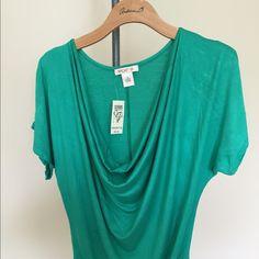 Green short sleeve cowl neck top Top Arden B Tops