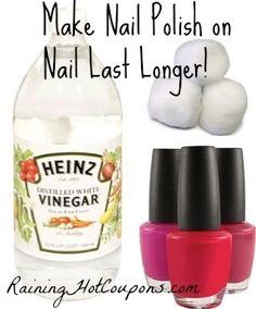 Make nail polish last longer on your nails with vinegar! Just take a cotton ball and dip it in vinegar then swipe it over your un-polished nail. After it's dry, polish your nail! That's it, your nail polish will last longer -Need to try this.