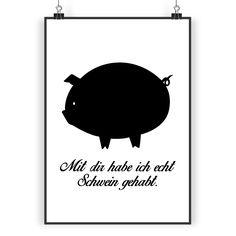 Poster DIN A3 Schwein aus Papier 160 Gramm  weiß - Das Original von Mr. & Mrs. Panda.  Jedes wunderschöne Motiv auf unseren Postern aus dem Hause Mr. & Mrs. Panda wird mit viel Liebe von Mrs. Panda handgezeichnet und entworfen.  Unsere Poster werden mit sehr hochwertigen Tinten gedruckt und sind 40 Jahre UV-Lichtbeständig und auch für Kinderzimmer absolut unbedenklich. Dein Poster wird sicher verpackt per Post geliefert.    Über unser Motiv Schwein  Das Schwein gilt als Glücksbringer und…