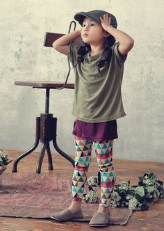 Triangles Leggings for girls aged 1-6 at Color Me WHIMSY.