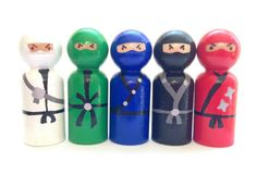 Ninja Peg Doll Set...Are you stealthy enough to play with these 5 ninjas?. They stand 2 5/8 inches tall, and have two coats of non-toxic varnish to keep them safe.... not recommended for children who mouth their toys.