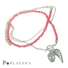 Silver necklace with coral #necklace; #silver; #skull; #coral; #wings, #long; #fashion