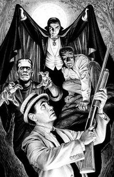 Artist © Dave Aikens Carl Kolchak Meets The Universal Monsters Horror Icons, Horror Films, Horror Art, Frankenstein, Dog Comics, Horror Movie Characters, Cult Movies, Classic Horror Movies, Famous Monsters