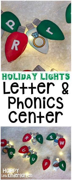 Holiday Lights Literacy Center. Match uppercase & lowercase letters with their beginning sounds.