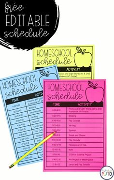 Free homeschool schedule for parents! This is so helpful for keeping things organized. schedule first grade Editable Homeschool Schedule Homeschool Kindergarten, Homeschool Curriculum, Kindergarten Schedule, Science Curriculum, Homeschooling Resources, Preschool Worksheets, Teacher Resources, Home Learning, Learning Activities