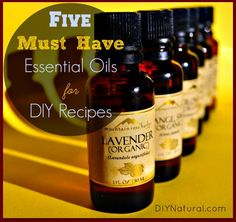 Five MUST HAVE Essential Oils for DIY Recipes: Learning how to use essential oils can be intimidating, so we created this list of the top five oils you'll need and a bunch of recipes to get you started.