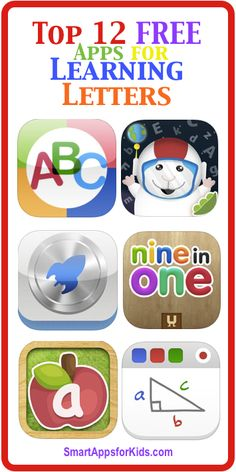 Top 12 FREE Apps for Learning Letters! **Now updated! http://www.smartappsforkids.com/2014/06/top-12-free-apps-for-learning-letters-now-updated.html