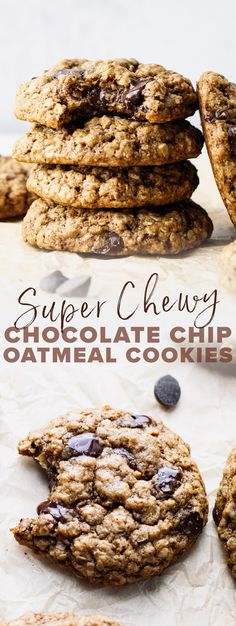 The BEST chewy oatmeal chocolate chip cookie recipe! Made with hearty oat flour   quick oats, are naturally sweetened, and filled with gooey chocolate chips. You will love every bite of these healthy cookies! | asimplepalate.com #cookies #oatmealcookies #dessert #glutenfree Healthy Cookie Recipes, Healthy Cookies, Yummy Cookies, Sugar Cookies, Snack Recipes, Dessert Recipes, Oatmeal Chocolate Chip Cookie Recipe, Chocolate Chips, Flour Recipes