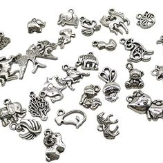 24 Antique silver Plated Acrylic Fancy Starfish Tibetan Charms Jewelry Supplies