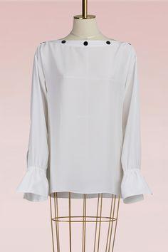 EMILIO PUCCI Crepe blouse with open shoulder. #emiliopucci #cloth #