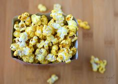 Sweet and Spicy Curried Popcorn ~ Savory Simple  Make it vegan by subbing canola oil (or coconut oil for a different flavor combo)!