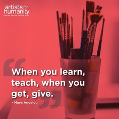 Today's #Wednesday Wisdom comes from acclaimed poet storyteller activist and autobiographer Maya Angelou on the importance of paying it forward. #learn #teach #get #give #Maya Angelou