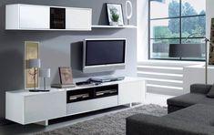 Bambi TV Unit Living Room Furniture Set Modular Media Wall White Gloss Melamine