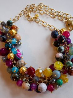 Gem Cluster Statement Necklace Multi Colored by PorcelainIndustry, $210.00 SOLD