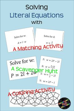 Literal Equations Coloring Activity Literal equations