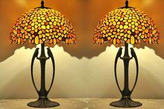 Pair table lamps  12 shades hand made of natural Baltic