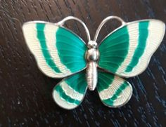 VOLMER-BAHNER-DENMARK-VINTAGE-STERLING-ENAMEL-BUTTERFLY-PIN-UNUSUAL-COLORS-MINT