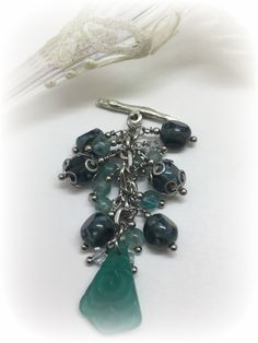 Handmade Etched Carved Floral Sea Foam Green Beaded Charm Pendant Necklace. Attach this Beaded Charm to available Stainless Steel or Leather Chain. Many more available. Start your Collection Today!