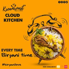 "ITS LUNCH TIME 😋!! Biryani fragnance can make you hungry again and again even if its dinner😍 !!. . Pick up your phone and order now from #kreamroast cloud kitchen📲. . Authentic ""MATKA BIRYANI"" ia also available which brings real love for biryani🤤. 📲Available in Swiggy , Zomato and Klik - A - Bite . #kreamroast #cloudkitchen #kreamroastcloudkitchen #delivery #fooddelivery #deliveryservice #swiggy #zomato #klikabite #bhubaneswar #odisha Menu Card Design, Food Menu Design, Food Poster Design, Cafe Posters, Food Posters, Graphic Design Lessons, Food Graphic Design, Colour Gel Photography, Cloud Kitchen"
