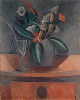Pablo Picasso. Vase of flowers, glass of wine, and spoon. 1908