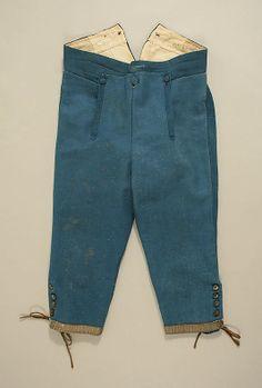 """Breeches, second half of 18th Century, European, silk, wool, linen, [written] (back of breeches) """"Guidotti"""""""