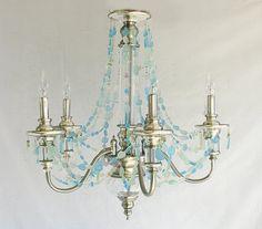 I love this-  so delicate. Sea Glass Chandelier Coastal Decor Beach by CoastalRadianceLites, $1045.00