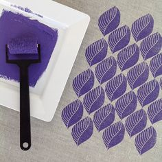 { week 24 } it's Monday, so it's #52weeksofprintmaking day for me! My idea this week was a leaf, and after much doodling in my sketchbook last night, this was the design I decided to carve. Resisting the urge to use green, I went with purple ink and a formal pattern this morning, but other combinations are likely later in the week. Have a creative week everyone!