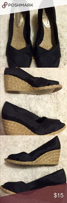 Adrienne Vittadini espadrilles. Cute & comfy Adrienne Vittadini black espadrilles with an open toe. You can't go wrong with these & they go with just about everything! Only worn a few times. Excellent condition. Adrienne Vittadini Shoes Espadrilles
