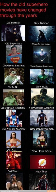 How Super Heroes have changed. Batman Super Man Thor Hulk  Iron Man