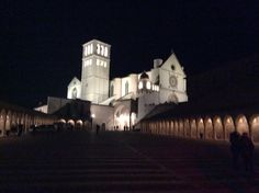 Basilica di San Francesco Assisi. By night