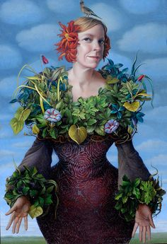 """Ground Cover"" - Jennifer Knaus, oil on panel {contemporary figurative realism surreal art female flora standing woman painting} jenniferknaus.com"