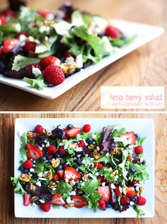 """Feta Berry Salad with Candied Walnuts - comes complete with instructions on how to """"candy"""" your walnuts!"""