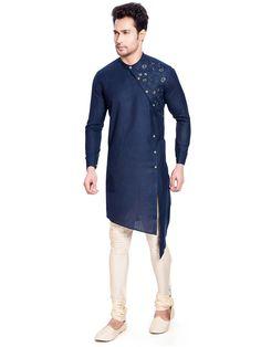Royal blue party wear cotton silk kurta suit - G3-MKS0990   G3fashion.com Kurta Pajama Men, Kurta Men, Kids Kurta, Nigerian Men Fashion, Indian Men Fashion, Men's Fashion, Fashion Dresses, Pathani For Men, Kurtha Designs
