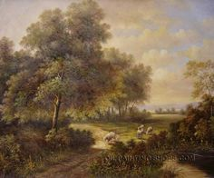 """Hand Painted Classical Paintings Reproduction Landscape Art Painting, Size: 36"""" x 24"""", $104. Url: http://www.oilpaintingshops.com/hand-painted-classical-paintings-reproduction-landscape-art-painting-2088.html"""