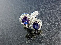 White Sapphire Purple Spinels Sterling Silver Ring