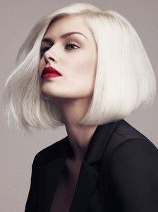 Platinum blond long bob haircut