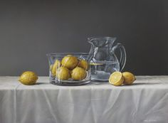 Parnell gallery artist Neil Driver Lemons and Glass Jug http://www.parnellgallery.co.nz/artworks/artist-neil-driver/lemons-and-glass-jug/