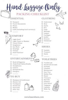 The holiday packing list: hand luggage (Stylemyday.nl) - The holiday packing list: hand luggage - Travel Packing Checklist, Travel Bag Essentials, Travelling Tips, Packing Hacks, Packing Ideas, Weekend Packing List, Vacation Checklist, Flight Checklist, Beach Vacation Packing List