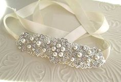 Bridal Hair, Wedding Headband, Ribbon Hairband, Ivory Pearl, Silver and Crystal, Vintage Style, Large Hair Piece, Hair Vine