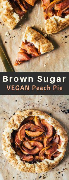 A brown sugar vegan peach pie, with plenty of juicy peaches and a sweet, flaky brown sugar pie crust! #vegan #pie #peach #yum #heartofabaker