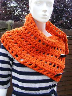 Chunky crochet scarf | orange scarf, chunky crochet scarves, button up scarf.