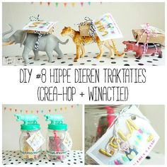 DIY #8 - Hippe dieren traktaties (Crea-hop+winactie!) potjes met dieren, dieren met rozijntjes op rug diy simpel traktaties kinderdagverblijf Boys 1st Birthday Cake, Wild One Birthday Party, Birthday Treats, Party Treats, First Birthday Parties, Party Animals, Animal Party, Lila Party, Baby Party