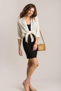 Shop the Mara Cream Tie Front Blouse - boutique clothing featuring fresh, feminine and affordable styles. Tie Front Blouse, Front Design, Affordable Fashion, Boutique Clothing, Dressing, Dresses For Work, Feminine, Casual