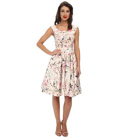 Unique Vintage Roman Holiday Dress Ivory Floral Print - Zappos.com Free Shipping BOTH Ways