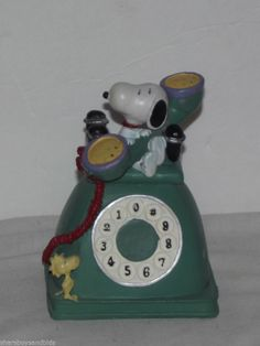 Vintage UFS Snoopy Sitting On and Holding Telephone with Woodstock Watching Bank  BID NOW!