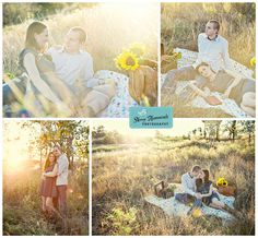 Picnic inspired engagement session with sunflowers